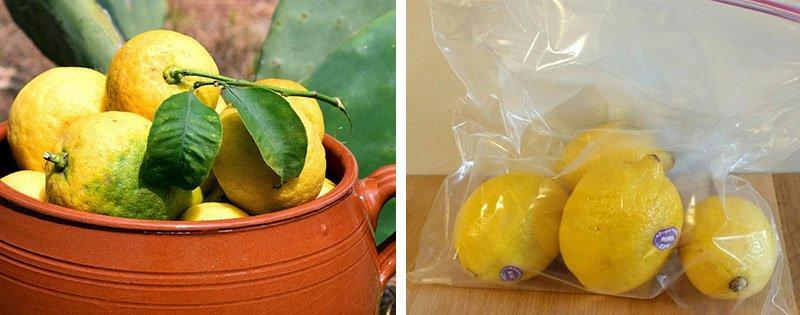 Хранение целых лимонов
