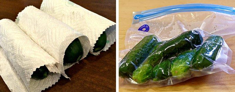 Огурцы в бумаге и вакуумной упаковке