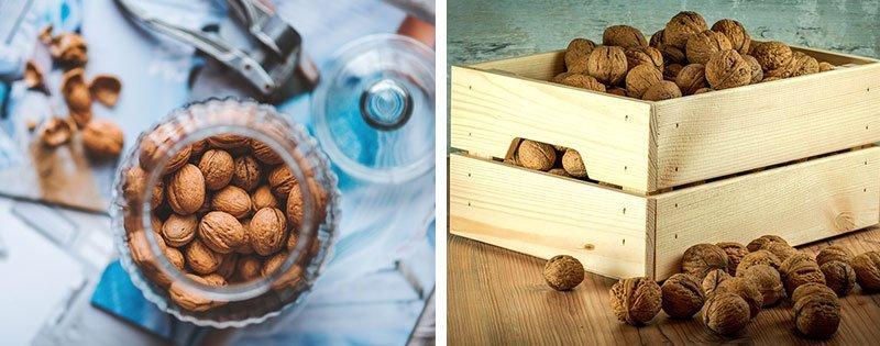 Орехи в банке и ящике