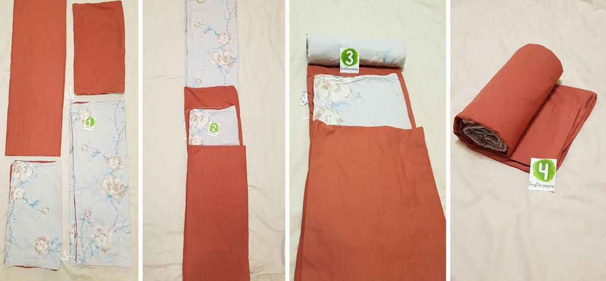 Складывание постельного белья в рулон