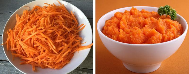 Морковь тертая и пюре