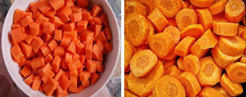 Нарезка моркови кубиками и кружками
