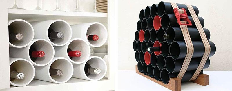 Полка для вина из ПВХ труб
